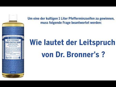 Jetzt 10 kultige 1 Liter Pfefferminzseifen von Dr. Bronner's gewinnen.