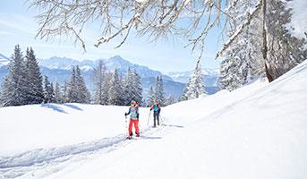 Winterlandschaft mit Schneeschuh-Wanderern